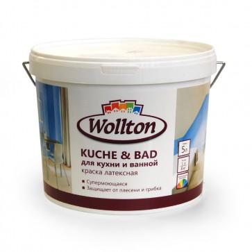 Краска латексная водно-дисперсионная для ванной и кухни Kuche & Bad Wollton 5 л