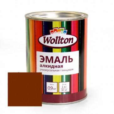 Эмаль алкидная глянцевая Wollton коричневая 0,9 кг