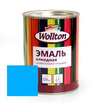 Эмаль алкидная глянцевая Wollton голубая 0,9 кг