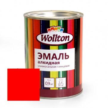 Эмаль алкидная глянцевая Wollton красная 0,9 кг