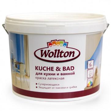 Краска латексная водно-дисперсионная для ванной и кухни Kuche & Bad Wollton 9 л