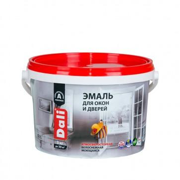 Эмаль для окон и дверей полуматовая Dali белая 3 кг