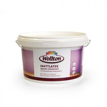 Краска латексная водно-дисперсионная интерьерная моющаяся Mattlatex Wollton 2 л