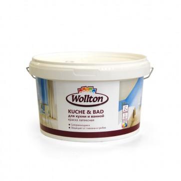 Краска латексная водно-дисперсионная для ванной и кухни Kuche & Bad Wollton 2 л