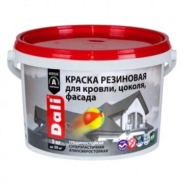 Краска фасадная резиновая акриловая Dali красно-коричневая 3 кг