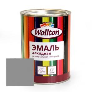 Эмаль алкидная глянцевая Wollton серая 0,9 кг