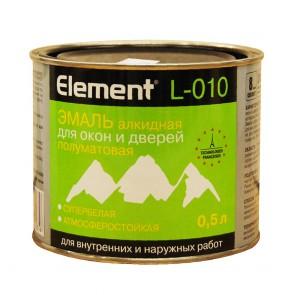 Эмаль для окон и дверей полуматовая Element L-010 белая 0,5 л