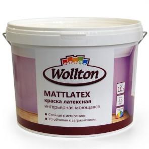 Краска латексная водно-дисперсионная интерьерная моющаяся Mattlatex Wollton 10 л