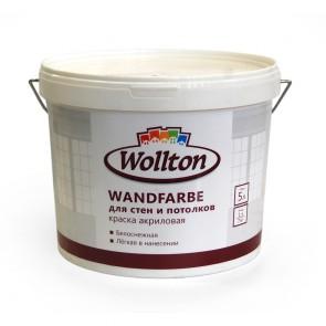 Краска акриловая водно-дисперсионная для стен и потолков Wandfarbe Wollton 5 л